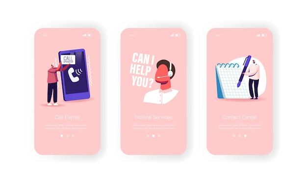 Callcenter, technische ondersteuningsservice mobiele app-pagina onboard-schermsjabloon