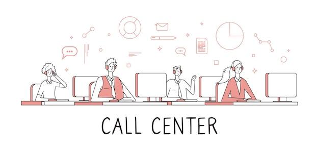 Callcenterconcept. klantenservice helpdesk diensten. mensen werken op afstand met gesprekken
