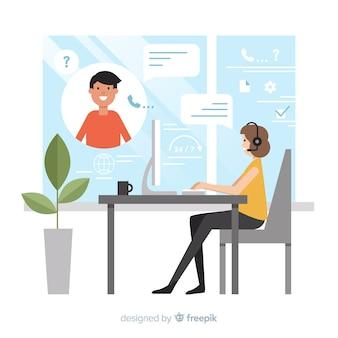 Callcentermedewerker die klanten helpt
