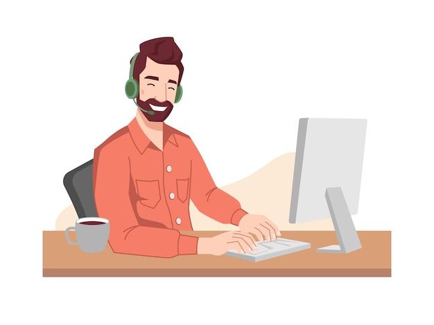 Callcentermedewerker lacht in hoofdtelefoon