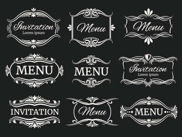 Calli decoratieve kaders voor menu en huwelijksuitnodiging