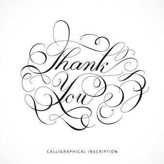 Calligraphical inscriptie dank u