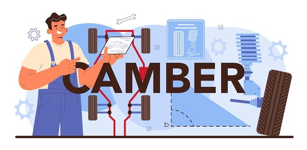 Camber typografische kop. autobandenservicemedewerker die een band van een auto verwisselt.