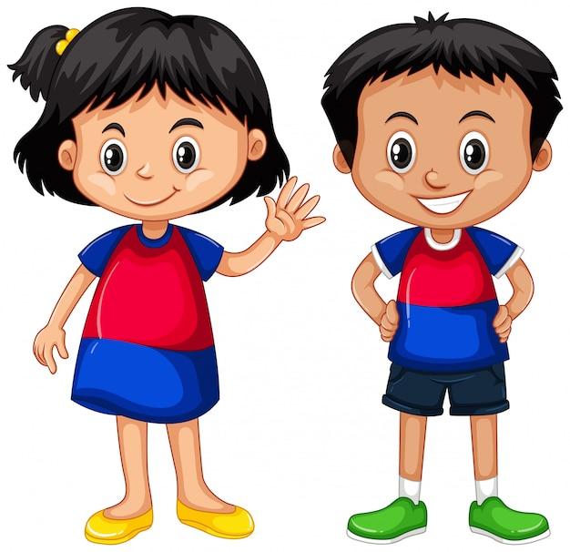 Cambodjaanse jongen en meisje glimlachen