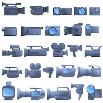 Camcorder geplaatste pictogrammen, beeldverhaalstijl