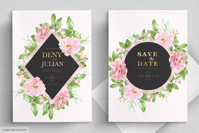 Camellia bruiloft kaartsjabloon