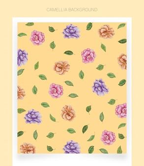 Camellia gele aquarel achtergrond