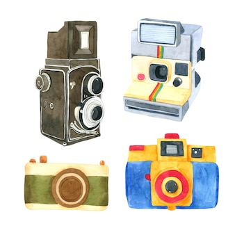 Camera aquarel collectie op witte achtergrond