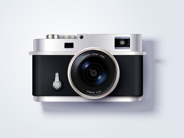 Camera, delicate camera in illustratie, bovenaanzicht