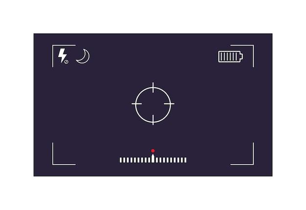 Camera-interface met instelling geïsoleerd op witte achtergrond