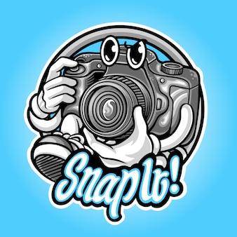 Camera mascotte logo voor fotografie premium illustratie
