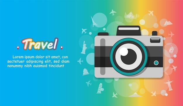 Camera reizen rond de wereld-concept.