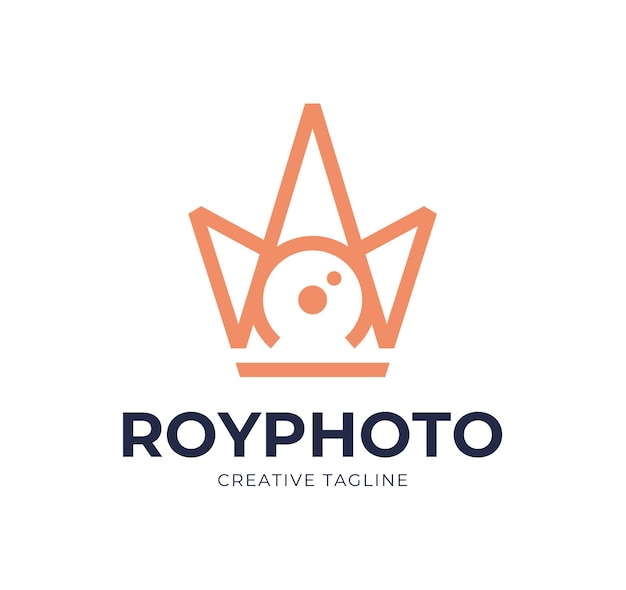 Camera sluiter fotografie met koninklijke kroon logo icoon inspiratie