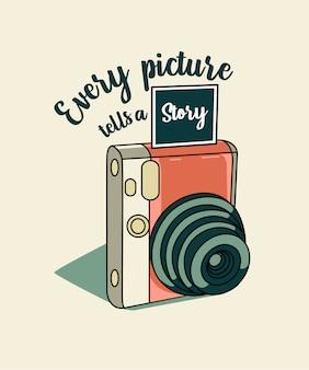 Camera vector met citaat: elke foto vertelt een verhaal