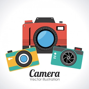 Cameraontwerp over witte vectorillustratie als achtergrond