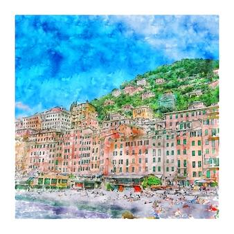 Camogli portofino italië aquarel schets hand getrokken illustratie