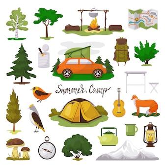 Camp avontuur illustratie iconen set, cartoon toeristische kampeeruitrusting, kaart, tent en kampvuur op wit