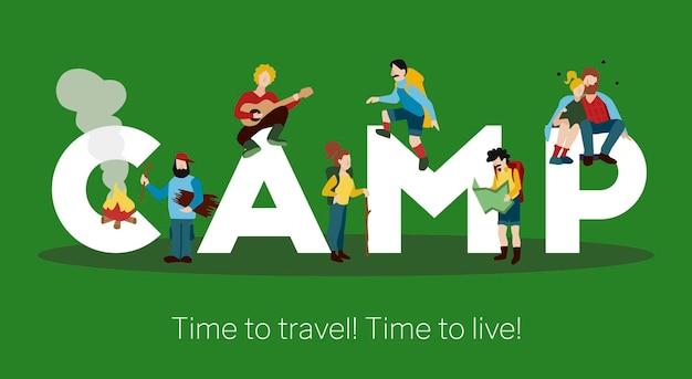 Camp grote witte formulering tijd om titel te reizen met wandelende mensen