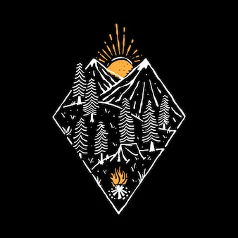 Camp hike nature wild line grafische illustratie art t-shirt design