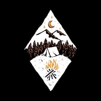 Camp hike nature wild line grafische illustratie art t-shirt design