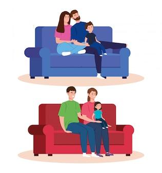 Campagne blijf thuis met familiescènes in de woonkamer