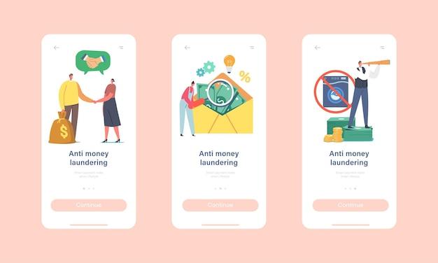 Campagne tegen het witwassen van geld mobiele app-pagina onboard-schermsjabloon. kleine karakters op enorme envelop