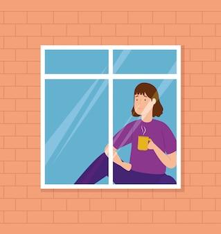 Campagne thuis blijven met vrouw die uit het raam kijkt