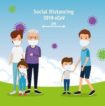 Campagne van sociale afstand voor 2019-ncov met gezinnen met gezichtsmasker in landschap