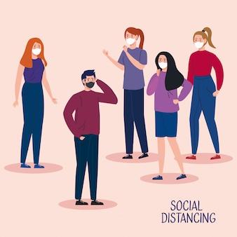 Campagne van sociale afstand voor covid 19 met mensen die een gezichtsmasker gebruiken