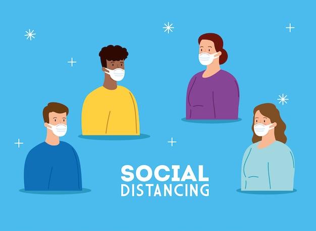Campagne van sociale afstand voor covid 19 met ontmoeting van mensen met gezichtsmasker