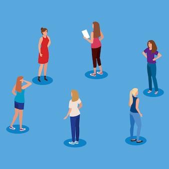 Campagne van sociale afstand voor covid 19 met ontwerp van de vrouwen het vectorillustratie