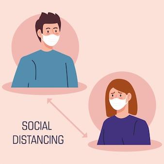 Campagne van sociale afstand voor covid 19 met paar met gezichtsmasker