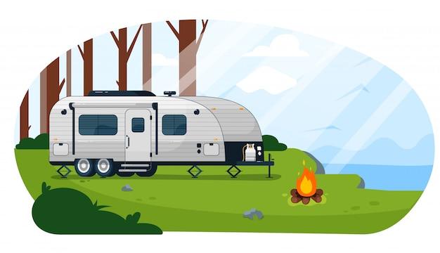 Camper aanhangwagen. caravan camper trailer