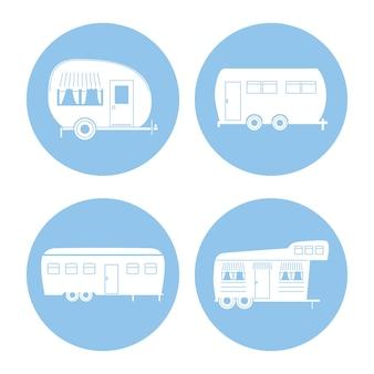 Camper aanhangwagens silhouetten pictogrammenset ontwerp van caravan reis kamp avontuur vervoer en reizen thema vectorillustratie