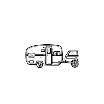 Camper en auto hand getrokken schets doodle pictogram. caravanvakantie en reis, reisaanhangwagen, recreatieconcept