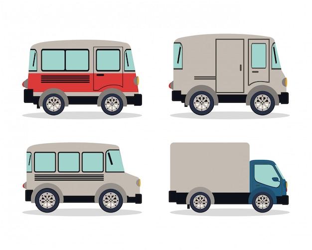 Camping aanhangwagen en vrachtwagen ontwerp van voertuigen, transport reizen reis stedelijke motor snelheid snel automotive en rijden thema