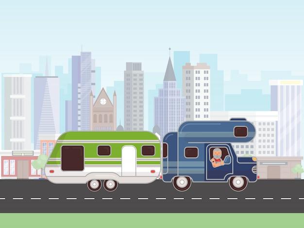 Camping aanhangwagen vector illustratie. auto met caravan voor kamperen in de zomer reis. car camp trailer. rv met chauffeur op de weg in de stad
