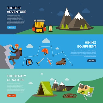 Camping adventure banner set