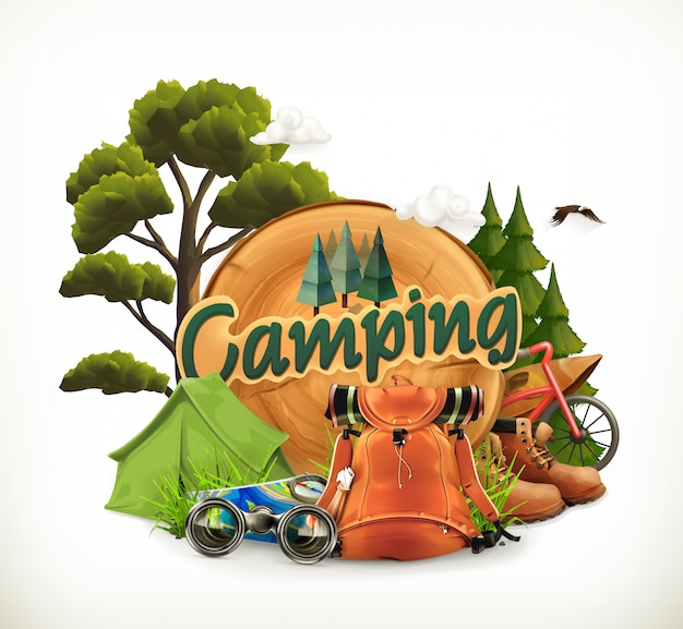 Camping. avontuur tijd, illustratie