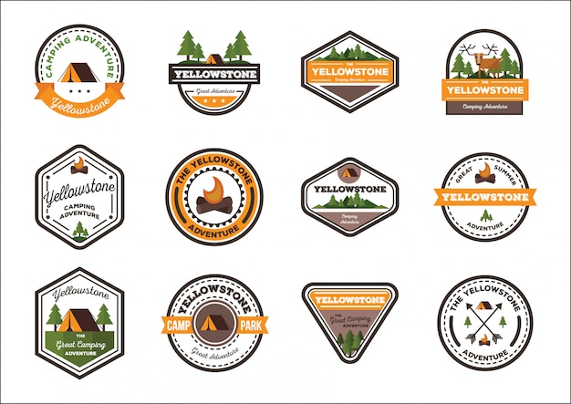 Camping badge vector