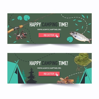 Camping banner met illustraties.