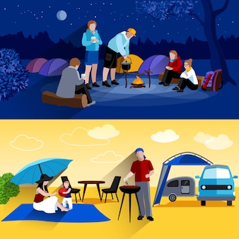 Camping banners set