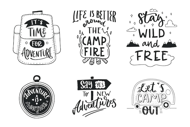 Camping belettering collectie