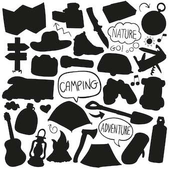 Camping berg silhouet vector illustraties design vorm