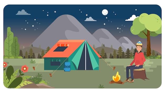 Camping buiten illustratie