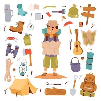 Camping buiten reizen toeristische man met kaart en sticker