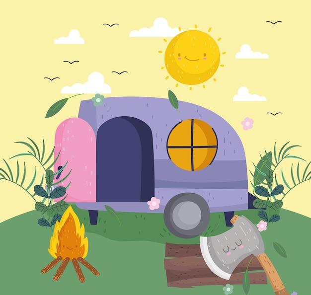 Camping camper en kampvuur