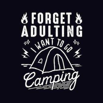 Camping citaten ontwerp