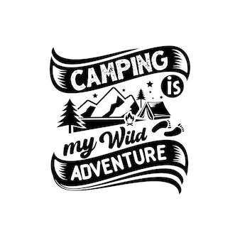Camping citaten svg ontwerp belettering vector