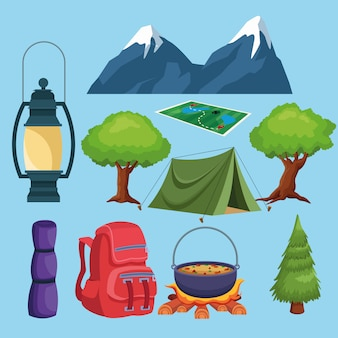 Camping elementen en landschap pictogrammen cartoon